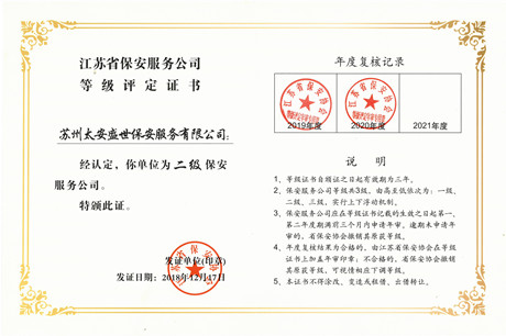 江苏省省二级保安服务公司资质
